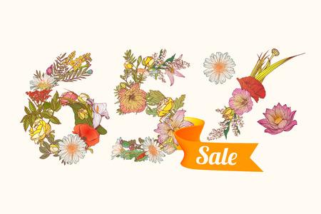 65: sixty five (65) percents sale. Vector floral digits Illustration