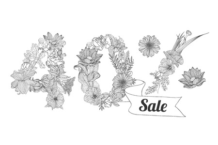 forty: forty (40) percents sale. Vector floral linear digits