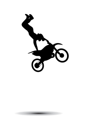 fmx: Motorcyclist. Bike trick. Silhouette on white background Illustration