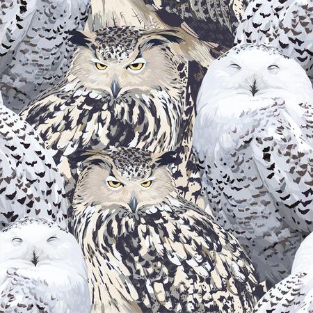 eagle owl: seamless pattern - eagle owl and polar owl Illustration