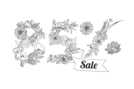 eighty: eighty five (85) percents sale. Vector floral linear digits