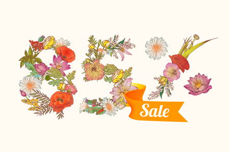 eighty: eighty five (85) percents sale. Vector floral digits