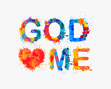 loves: God loves me. Watercolor splash paint