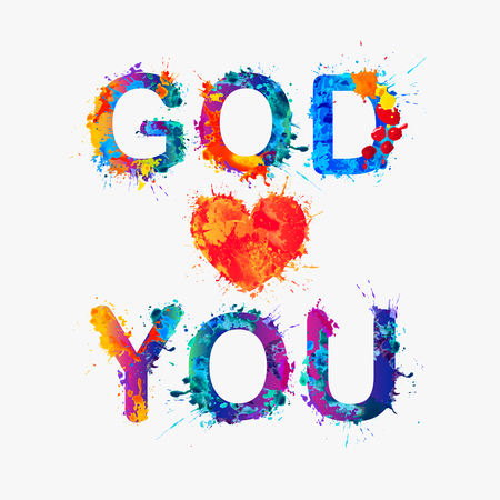 loves: God loves you. Watercolor splash paint