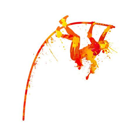 salto con pértiga. salpicaduras de pintura de acuarela de color naranja Ilustración de vector