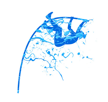 pole vault. blue splash paint illustration
