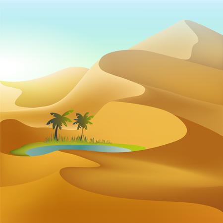 Oasis in the desert dunes. Mesh illustration