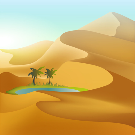 Oasis in the desert dunes. Mesh illustration
