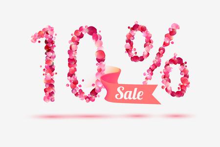 pink rose petals: Ten (10) percents sale. Digits of pink rose petals