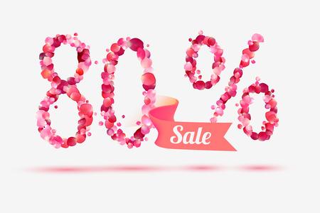 pink rose petals: eighty (80) percents sale. Vector digits of pink rose petals