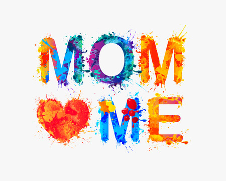 loves: Mom loves me. Watercolor vector splash paint Illustration