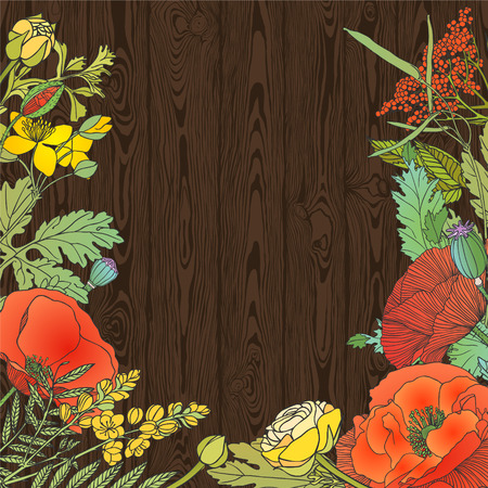 planking: Dark wood planking background with floral frame