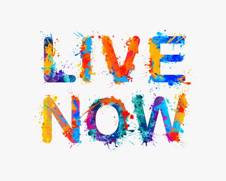 hedonism: Live now. Vector splash paint inspirational inscription