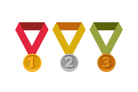 bronze medal: Gold medal. Silver medal. Bronze medal. Awards for first, second and third place.