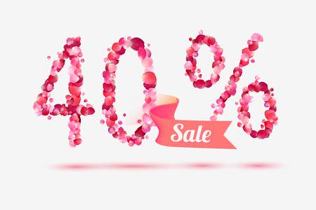40: forty (40) percents sale. Digits of pink rose petals