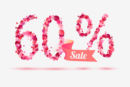 sixty: sixty (60) percents sale. Vector digits of pink rose petals Illustration