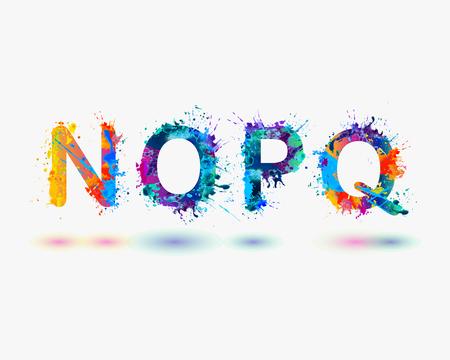 Alphabet. Letters N, O, P, Q. Part 4  イラスト・ベクター素材