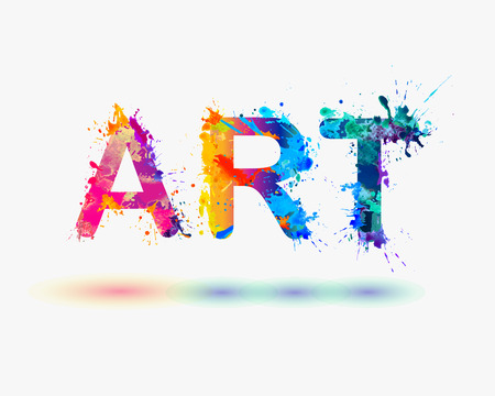 Word art. Rainbow splash paint on white background Illustration