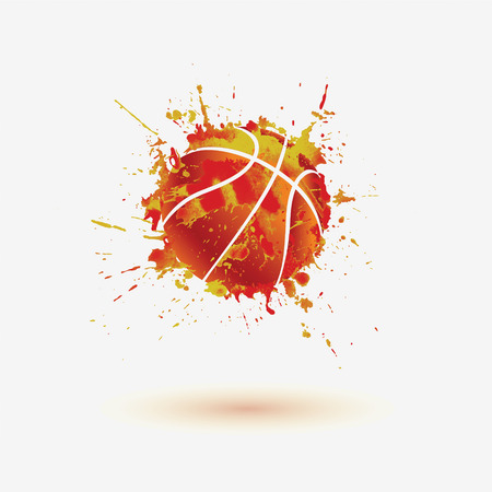 boule de basket-ball. Vector aquarelle splash sur fond blanc