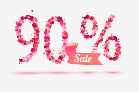 ninety: ninety (90) percents sale. Vector digits of pink rose petals