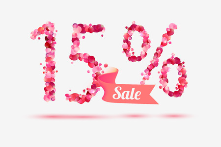 fifteen: fifteen (15) percents sale. Vector digits of pink rose petals Illustration