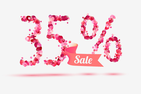 thirty five: thirty five (35) percents sale. Vector digits of pink rose petals Illustration
