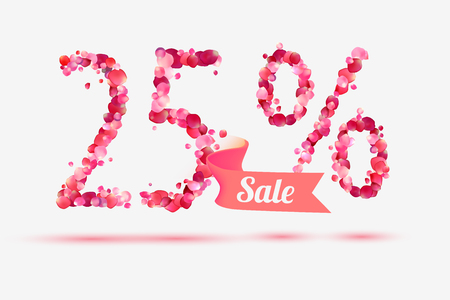 five petals: twenty five (25) percents sale. Vector digits of pink rose petals Illustration