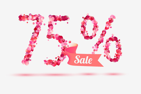 five petals: seventy five (75) percents sale. Vector digits of pink rose petals Illustration
