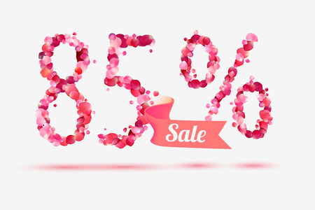 five petals: eighty five (85) percents sale. Vector digits of pink rose petals