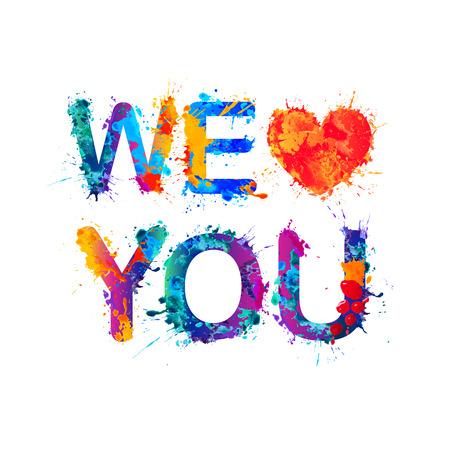 Kochamy Cię. Akwarela wektor powitalny farby