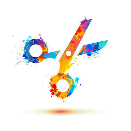 haircutter: Scissors of watercolor splash paint. Vector icon