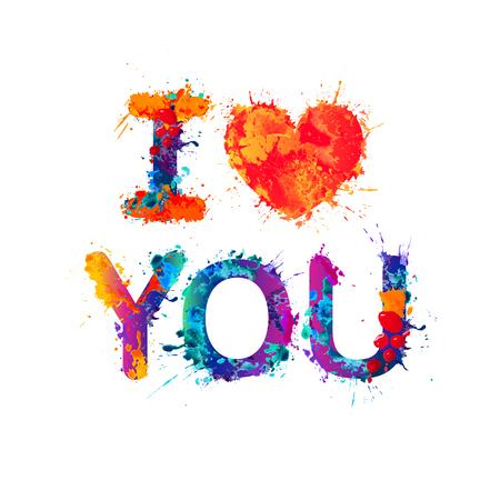 I love you. Watercolor splash paint confession