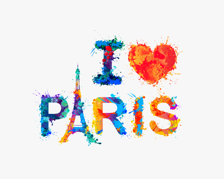 i love paris: I love Paris. Watercolor rainbow splash paint
