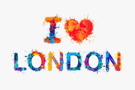 I love London. Vector watercolor splash paint