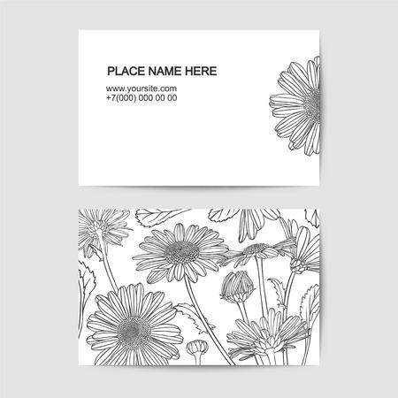 besuchen Kartenschablone mit Kamille linearen Blumen Vektorgrafik