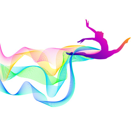 girl gymnast with a loop of multi-colored lines Çizim