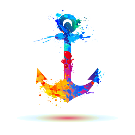 anchor of watercolor rainbow splash paint