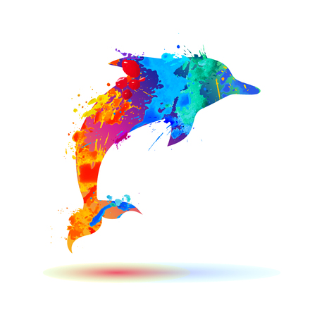 dolphin of rainbow watercolor splash paint