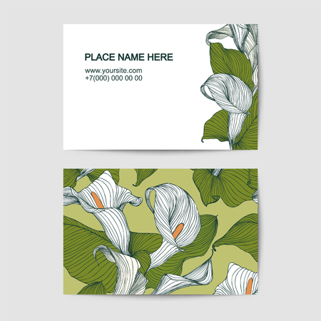 florist: visit card template with calla lily for florist salon