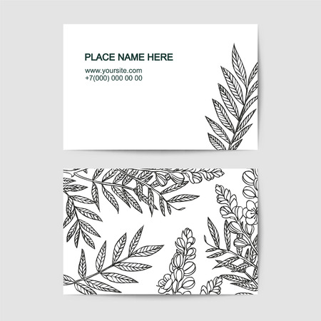 visiting card template with senna linear flowers