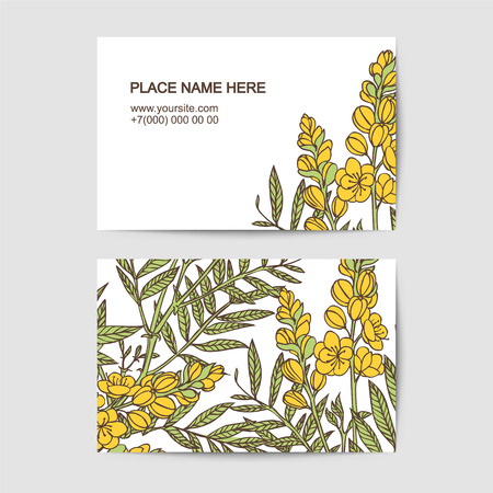 visiting card template with senna  flowers for florist salon