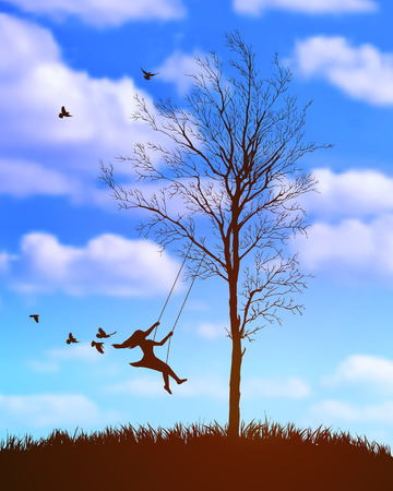nostalgy: girl on a swing. Tree on cloudy sky