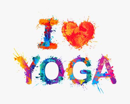 Me encanta el yoga. Acuarela inscripción salpicaduras de pintura