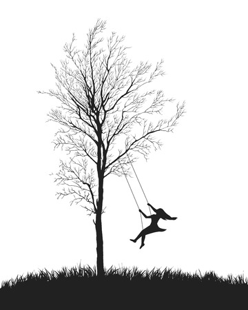 nostalgy: girl on a swing. Tree on white background
