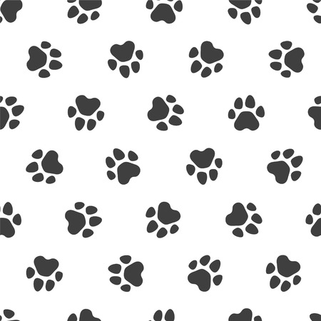 pawprint: Seamless vector pattern - black traces of paws
