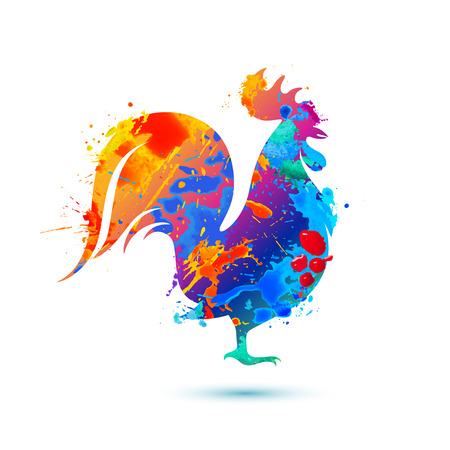 Cock multicolored bird. Splash vector watercolor paint