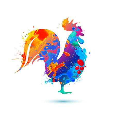 Cock multicolored bird. Splash vector watercolor paint