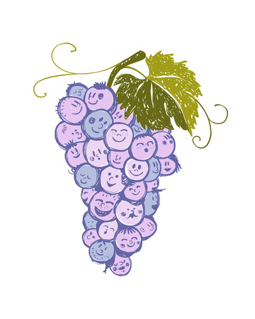 bunch: bunch of grapes with cheerful funny faces
