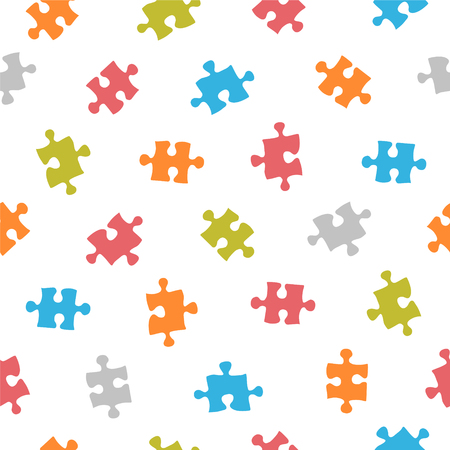 compatible: Seamless vector multicolored pattern - puzzle on white background