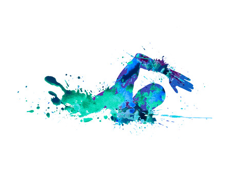 Swimming man. Vector watercolor blue splash paint